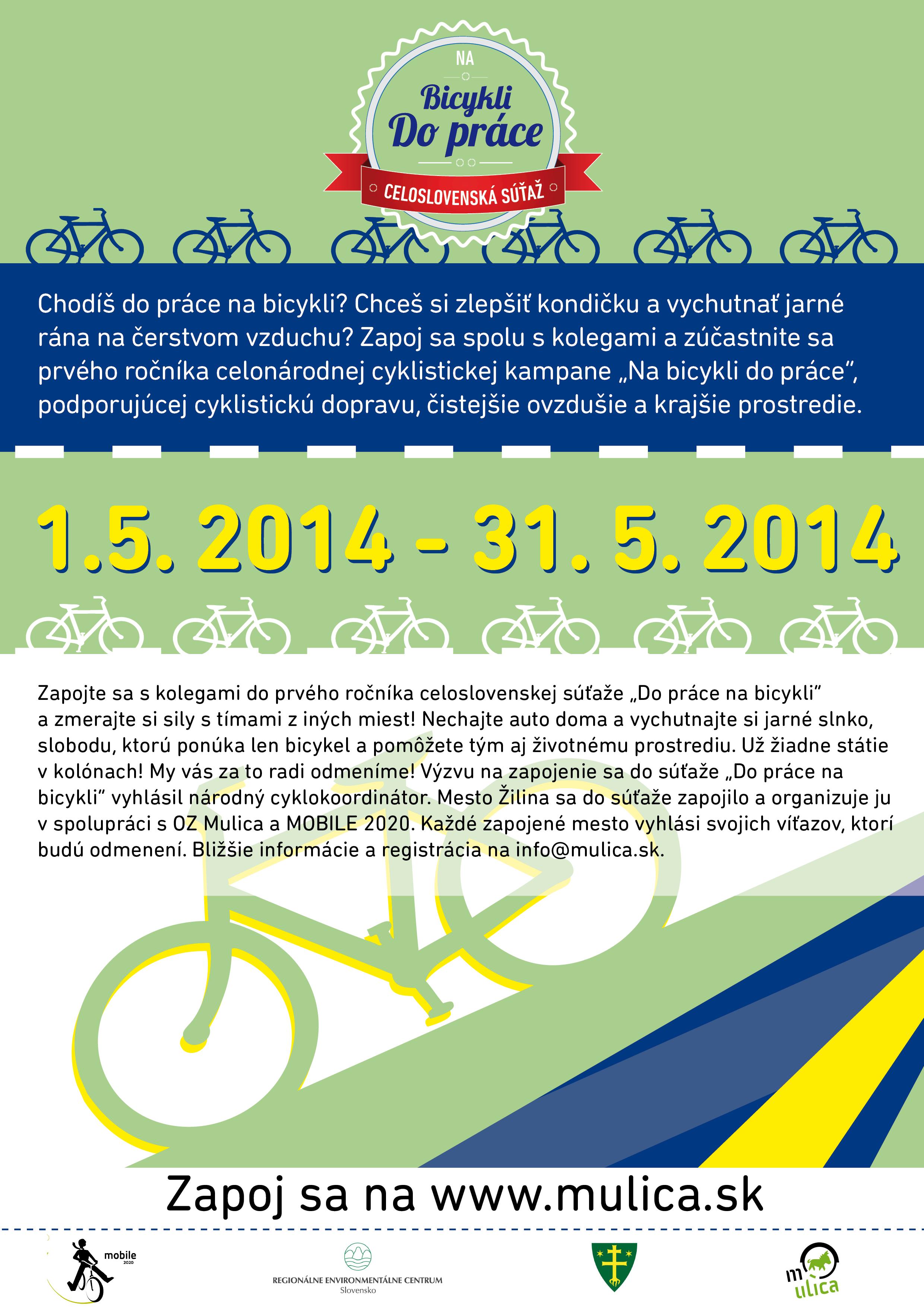 Zapojte sa do mobilitnej súťaže Zelená Žilina alebo Na bicykli do práce 2014.