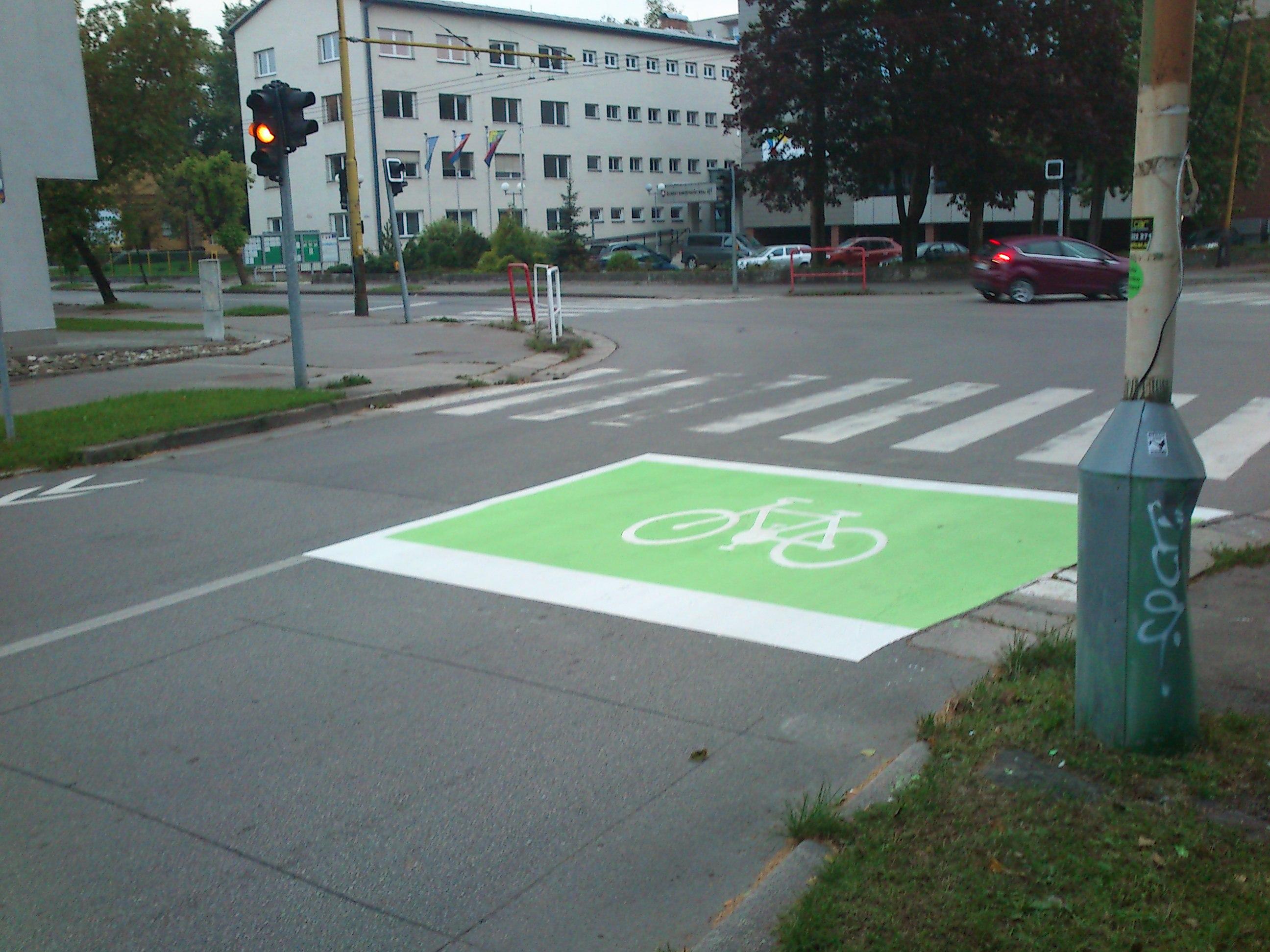 Žilina má prvý predsadený priestor pre cyklistov na križovatke