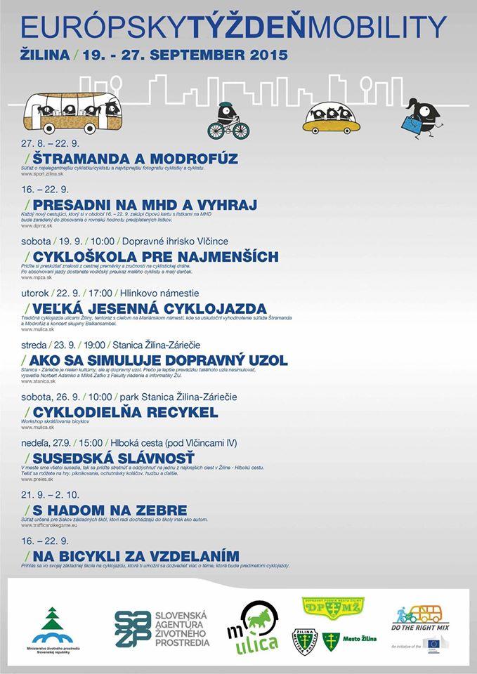 Program Európskeho týždňa mobility v Žiline 2015